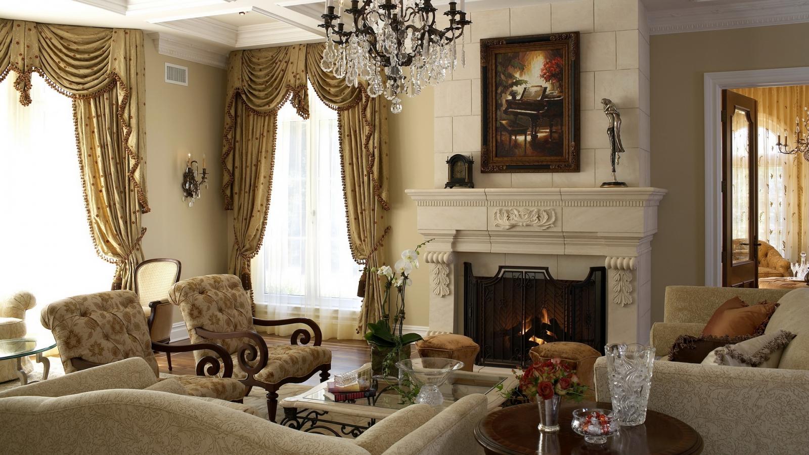 rèm cửa phòng khách theo phong cách cổ điển
