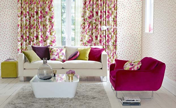 rèm cửa phòng khách theo phong cách vintage